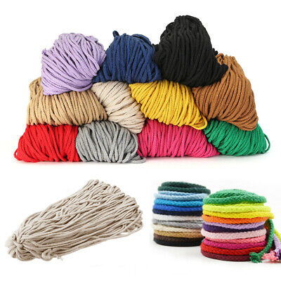 100yards Colored Braided Macrame Cord 5mm Cotton Rope String Craft Supplies 90m
