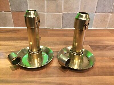 Pair Antique Bulpitt Brass Ships Engine Room Candle Lamps Maritime Marine Boat