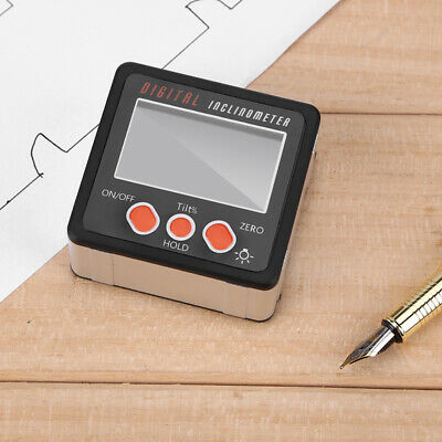Lcd Digital Inclinometer Protractor Gauge Bevel Angle Finder Magnet Base Handkit