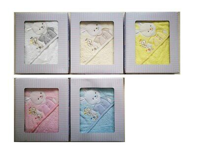 [50%OFF!]  Baby Hooded 100% Cotton Towel set  Boxed- Rabbit