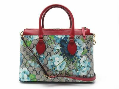 e0089f5735 Sac A Main Gucci Gg Supreme Blooms 409534 Toile Monogramme Cuir Rouge Bag  1490€