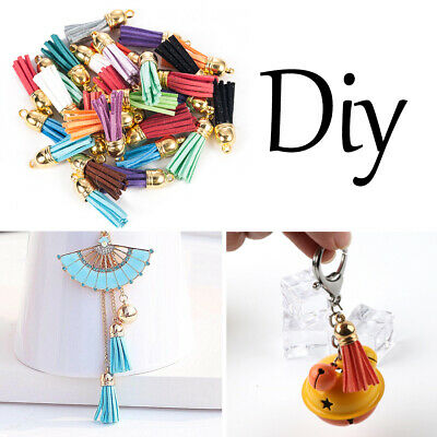 Wholesale 30Pcs Mixed Color Suede Leather Tassel For DIY Keychain Pendant Charms