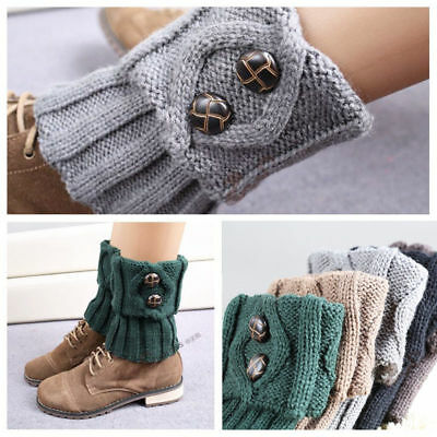 New Women Winter Warm Knitted Boot Cuffs Short Leg Warmers Buttons Toppers Cuffs