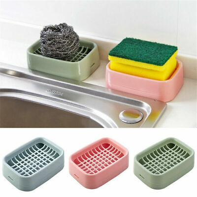 Bathroom Dual Layer Soap Dish Holder Bath Shower Tray Sponge Drain Storage Rack