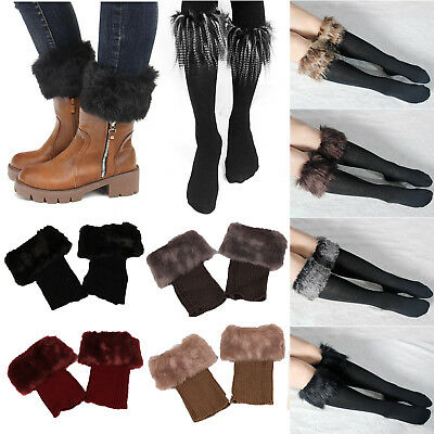 AU Women Winter Leg Warm Crochet Knit Fur Trim Boot Socks Toppers Cuff Stockings