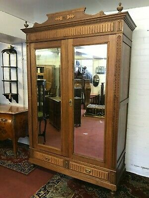 Stunning French Carved Oak Antique Double Mirrored Door Armoire/Wardrobe