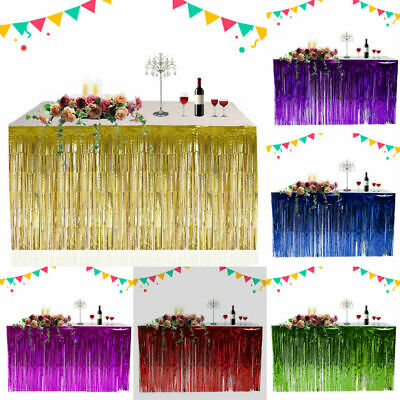 Metallic Fringe Table Skirt Wedding Party Foil Tinsel Tassel Table Wall Curtain