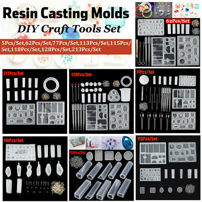 Resin Casting Molds Kit Silicone Mold Jewelry Pendant Mould Craft DIY Tools Set