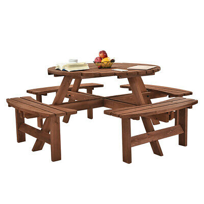 Sensational Garden Wooden Round 8 Seater Picnic Table Wood Bench For Andrewgaddart Wooden Chair Designs For Living Room Andrewgaddartcom