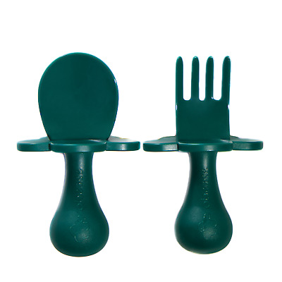 Grabease | First Cutlery For Baby | Fork & Spoon Set | Cutlery Set | Green | New