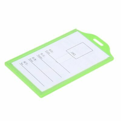 Green Clear Plastic Vertical Business Working ID Badge Name Card Holder 5 P Z4A8