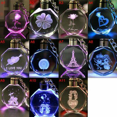 3D Fairy Crystal Rose LED Light Keychain Love Heart Key Chain Keyring Best Gifts