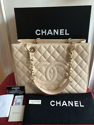 578463716858 Authentic CHANEL GST Grand Shopping Shopper Tote Bag Beige Caviar Gold HW