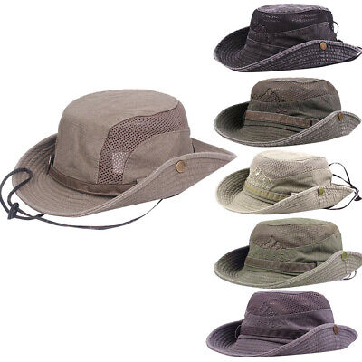 Adult Foldable Fishing Hat Wide Brim Sun Protection Hat Outdoor Mesh Fishing Cap