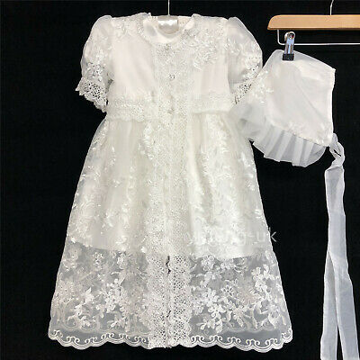 Gorgeous Baby Girl Ivory Satin Christening Dress Matching Hat 3 Pieces