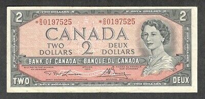 1954 *O/G $2.00 BC-38dA F-VF * SCARCE QEII Two Dollars ASTERISK REPLACEMENT Note