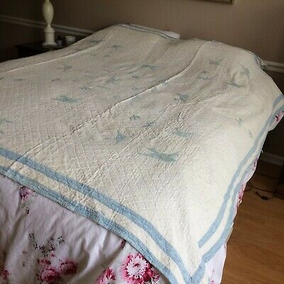 """Antique vtg quilt embroidered blue birds hand quilted  78X76"""" FARM COT RUSTIC"""