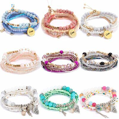 Boho Multilayer Natural Stone Crystal Bracelet Beaded Bangle Women Jewelry Gift