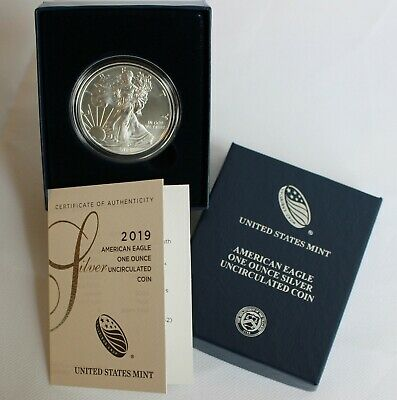 2019 W Uncirculated American Silver Eagle Dollar BU ASE Coin US Mint Box and COA