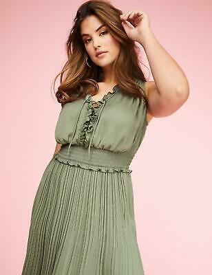 b5239d5310cb Lane Bryant Women's 22/24 Lace-Up Midi Dress With Smocked Waist Dried Sage
