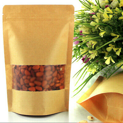 100x Stand Up Zip Lock Brown Kraft Paper Bag with Window for Snack 14x22cm