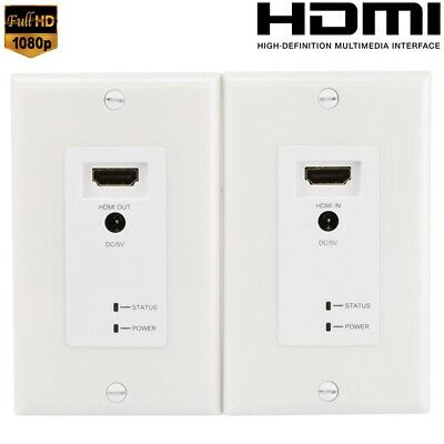 HDMI EXTENDER WALL Plates 328FT Over HDBaseT CAT6 Ethernet Cable w