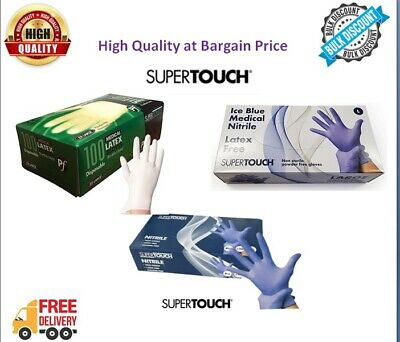 Nitrile Disposable Gloves Powder Free Latex Free Blue White SUPERTOUCH