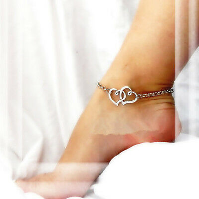 Women's Stainless Steel Temperament Simplicity Fashion Double Heart Anklet USA