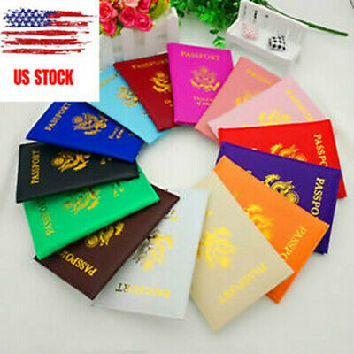 Faux Leather Travel Passport Case ID Card Holder Cover Organizer Dazzling USA