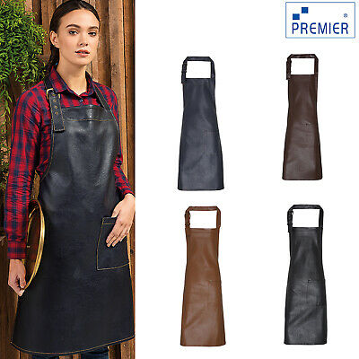Premier Unisex Faux Leather Bib Apron (PR139) - Waitress Waiter Workwear Uniform