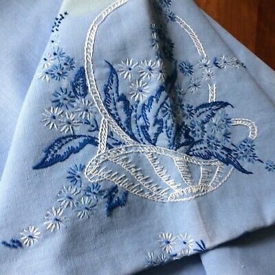 Vtg tablecloth blue embroider floral french knot crochet lace 53x44 COT FARM CHI
