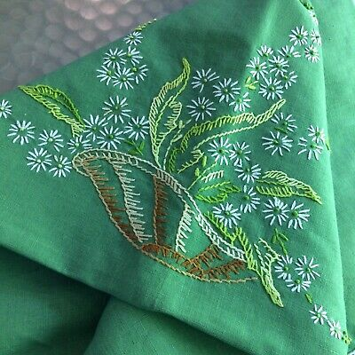 Vtg tablecloth green embroider floral french knot needl lace 56x44 COT FARM CHIC
