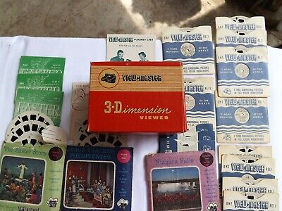 Vintage 1950's Viewmaster 3 Dimension Viewer & Assortment of Reels