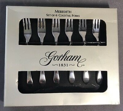 Set of Six (6) Gorham Meredith Stainless Flatware Seafood Cocktail Forks