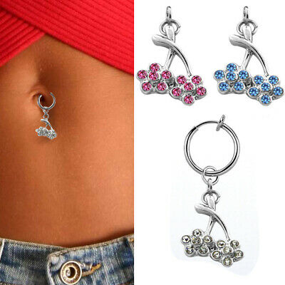 Clip On Navel Fake Illusion Clips Belly Button Jewelry No Piercing