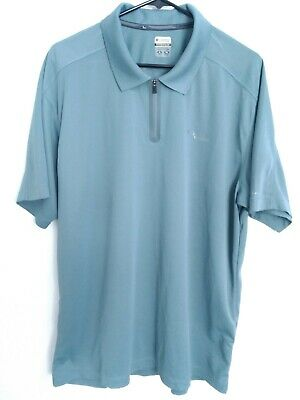 bfa8366b137 Men's Size XL Columbia Titanium Omni-Dry Teal Blue 1/4 Zip Active Polo