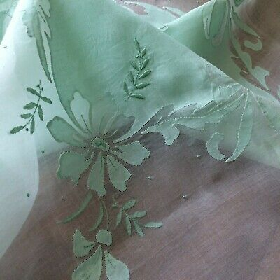 Vtg tablecloth 4 napkins mint green organdy madeira embroider floral  43x42 CHIC