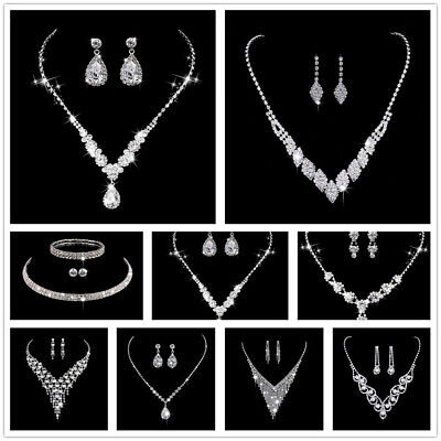 Pearl Crystal Bridesmaid Party Jewellery Set Wedding Necklace Bracelet Earrings
