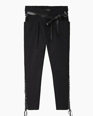ISABEL MARANT Den paperbag lace up leather belted pants trousers - black 36
