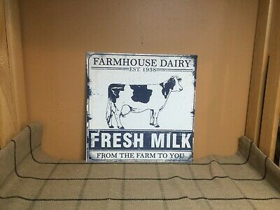 New Farmhouse Dairy Fresh Milk From the Farm to You Metal Sign, Cow Advertising
