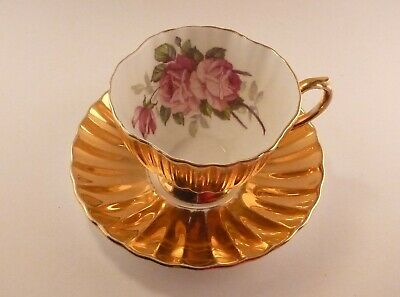 EB Foley bone china Made in England Gold teacup and saucer with roses