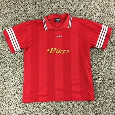 3234ef78b1e VTG 90s Adidas Men Sz XL Pikes Soccer Jersey Polo Shirt Red Striped RARE