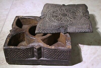 Antique India Rosewood Square Leaf Spice Box Samruddhi Keralan Museum Quality