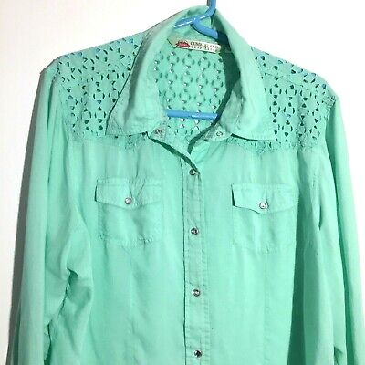 30b10e058 Cumberland Outfitters Top Size X Large Womens Long Sleeve Western Shirt  Green M8