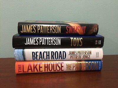 Lot of 4 James Patterson Hardcover Books Swimsuit, Toys, Beach Road, Lake House