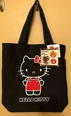 NWT SANRIO Hello Kitty Black 35th Anniversary Canvas Tote Bag with 3 Pins