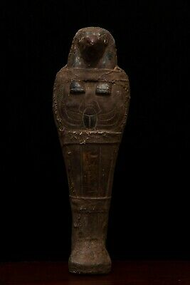 EGYPTIAN ANTIQUES EGYPT FALCON HORUS Gods Mummy STATUE SHABTI, Carved STONE,BC
