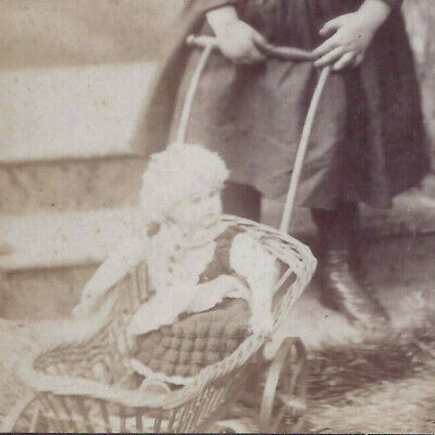 1880s CABINET CARD PHOTO PITTSBURG PA GIRL & LARGE BABY DOLL TOY & STROLLER