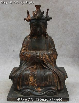 """10"""" Chinese Bronze Myth Phoenix Seat Queen Mother Goddess of Heaven Statue"""