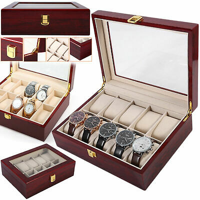 10 Grids Glass Solid Wooden Watch Case Organizer Luxury Display Box Storage Slot